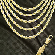 New Real 14k Italy Gold Gp 6mm Rope Chain Necklace R6all