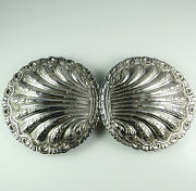 Huge Victorian Aphrodite Statement Antique Sterling Silver Buckle Clam Shell 925