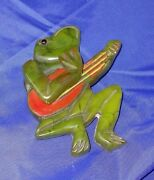 Large Vintage Bakelite Frog Pin Articulated Movable Arm Playing Banjo Green