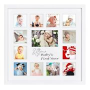 Baby Frames Collection 16x16-inch My First Year Baby Photo Wood Frame White