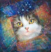 Art Painting That Ends In Aahh... Secret Of The Cosmic Box -inspired By Cat Maru