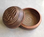 RARE! NEW! Hand Thrown Pottery Round Box FREE Shipping!
