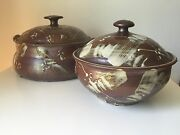 SET MID-CENTURY ART POTTERY COVERED BOWL and CASSEROLE-SIGNED