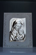 Framed Silver Italian Religious Art Madonna And Child