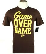 Nike Game Over Name Brown Regular Fit Short Sleeve Tee T Shirt Menand039s Nwt