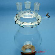 2000ml 24/29 Three Necks Glass Reactor2l Lab Reaction Flask With Lid And Clamp