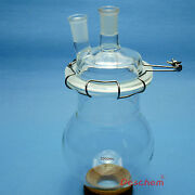 2000ml24/40glass Reactortwo Necks2l Laboratory Reaction Flaskw/ Lid And Clamp