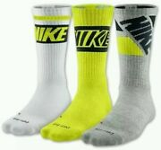 Nike 3 Pack Dri-fit Cotton Cushioned Crew Socks Rare Colorway New