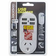 Jackson 4-outlet Usb Charger And Surge Protected Socket Aust Brand