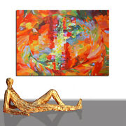 Painting Oil Abstract Orange Firefox Modern Art Red Shades Framed 55 X 40