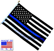 3x5 Police Memorial Thin Blue Line Flag 3and039x5and039 Made In Usa 600d Embroidered Nylon