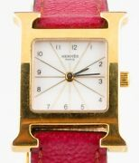 Hermandegraves Heure H Womenand039s Gold-plated Quartz Watch W/ Original Pink Leather Band