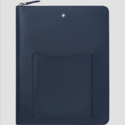New Sartorial Notepad Holder With Pockets Blue Leather With Zip