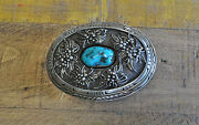 Vintage Navajo Sterling Silver And Turquoise Shadowbox Belt Buckle