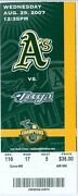 2007 Oakland A's Vs Blue Jays Ticket Aaron Hill, Alex Rios And Lyle Overbay Hrs
