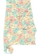Alabama Road Map Glossy Poster Picture Banner County City State Birmingham 2439