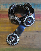 Vintage Zuni Sterling Silver Inlay Sun Face Concho Belt