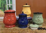 Fleur De Lis Canisters Set Of 4 Ceramic Dishes Tuscany Lid Sugar Coffee Kitchen