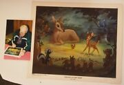 Vintage Bambi Meets His Forest Friends Lithograph Signed Thomas Johnston Photo