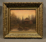 American 19th Century Signed Oil Painting Cabin In Landscape