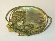 Art Nouveau Lady Brass / Bronze Tray Dish Pearls Star Fish Cat Tale And Sea Shell