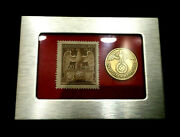 German Ww2 Rare 10 Rp Brass Coin And Stamp In A Secure Silver Metal Disp Frame