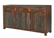 68 L Buffet Table Reclaimed Wood Distressed Red Dark Brown Finish Rustic Unique