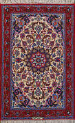 2and039 3 X 3and039 8 Esfahan Wool And Silk Authentic Hand Knotted Persian Rug
