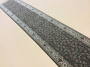 2and039.6 X 13and039.10 Black Beige Fine Geometric Oriental Rug Long Runner Hand Knotted