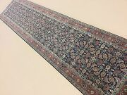 2and039.7 X 11and039.8 Navy Rust Fine Geometric Oriental Rug Runner Hand Knotted Hallway