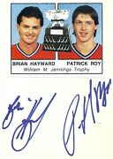 Dual Signed Patrick Roy Brian Hayward Montreal Canadiens Autographed Index Card
