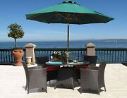 Outdoor Patio Woven Wicker Chair Table 5 Piece Dining Set Sunbrella Cushions