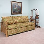 Made In Usa Premium Quality Rattan Sofa Queen Sleeper Bed Choice Of Fabrics