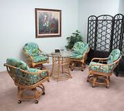 Made In Usa Rattan Swivel Tilt Caster Chair And Table 5 Piece Dining Set