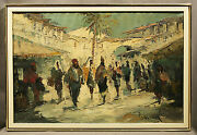 Jewish Oil Painting Of Hebrew Village In Israel Signed Cassan