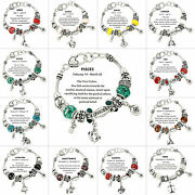Zodiac Charm Bracelet Murano And Silver Metallic Beads Gift Box Included