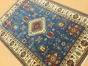 5and039.0 X 7and039.0 Light Blue Beige Geometric Oriental Rug Hand Knotted Wool