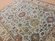 8and039.0 X 9and039.10 Light Blue Beige Serape Oriental Rug Hand Knotted Wool