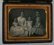 Parents With Three Daughters. 4th Plate, Daguerreotype, Push Button Case.