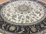 8and039.2 X 8and039.2 Round Ivory Navy Oriental Rug Fine Wool And Silk Hand Knotted Floral