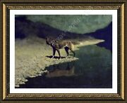 Moonlight Wolf By Frederic Remington   Framed Canvas   Wall Art Print Hd Paint