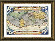 Antique Old Vintage V3 By World Map   Framed Canvas   Wall Art Poster Paint Hd