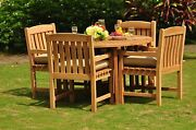 Dsdv Grade-a Teak 5pc Dining 48 Round Folding Table 4 Arm Chair Set Outdoor