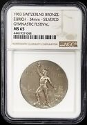 1903 Switzerland Bronze Zurich Gymnastic Festival Silvered Medal Ms 65 By Ngc