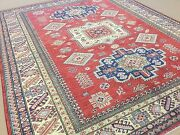 6'.7 X 8'.2 Red Beige Fine Geometric Oriental Area Rug Hand Knotted Wool Foyer