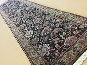 2and039.8 X 11and039.9 Navy Blue Green Fine Traditional Oriental Rug Runner Hand Knotted