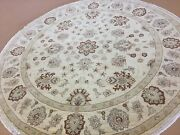 8and039 X 8and039 Round Beige Rust Fine Ziegler Oriental Rug Hand Knotted Wool Foyer