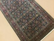2and039.6 X 12and039 Navy Blue Rust Fine Quality Geometric Oriental Rug Runner Handmade