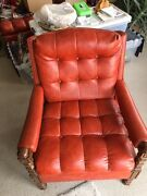 1973 Vintage Orange Leather Love Seat/chair/wood Chest Opens For Storage