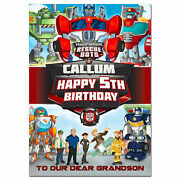 G397 Large A5 Personalised Birthday Card Transformers Rescue Bots Any Name